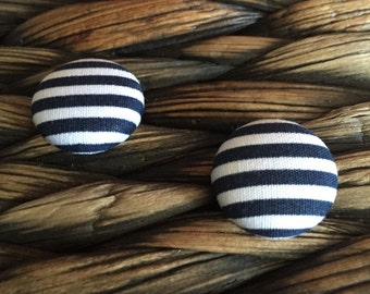 In the Navy - Handmade Navy and White Fabric Covered Button Stud Earrings