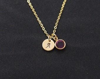 tiny initial necklace with February birthstone, gold filled, gold initial necklace, new baby necklace, Swarovski Drop necklace, amethyst