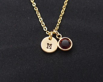tiny initial necklace with July birthstone, gold filled, gold initial necklace, new baby necklace, Swarovski Drop necklace, siam, ruby
