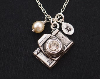 camera necklace, initial necklace, Swarovski pearl choice, silver camera charm with crystal lens, photographer jewelry, wedding photographer