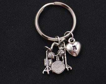 drum keychain, sterling silver filled, initial keychain, silver drum set charm, music instrument charm, drum set key ring, orchestra,drummer