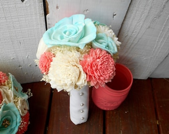 wedding bouquet, sola flower bouquet, bridal bouquet, rustic wedding, coral, bridesmaid bouquet, bride bouquet, coral and teal, bouquet