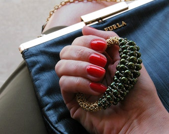 "Bracelets ""Glamorous pearls""-Green beaded bracelet, statement bracelet, bead embroidery, jewelry, womens bracelet, elegant bracelet"