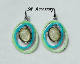 colorful Earrings, red orange green oval earrings, sparkling earrings, stainless steel earrings, jewelry earrings