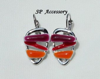 Colorful Jewelry, Triangle Pink Purple Orange Earrings, stainless steel earrings, jewelry earrings