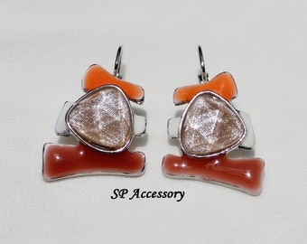 brown jewelry, sparkling Earrings, brown orange Earrings, stainless steel earrings, jewelry earrings