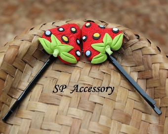 Fancy Hair Pin Fruit Strawberry Cherr, hair pin clay, jewelry hair pin