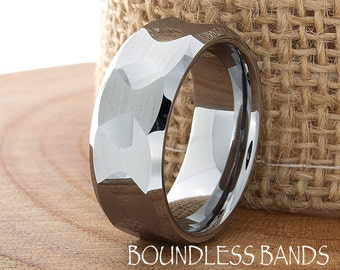 Tungsten Wedding Ring High Polished Multi Faceted Custom Made Tungsten Anniversary Ring Diamond Cut Free Laser Engraving New Design Rings