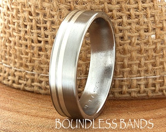 Brushed Polished Titanium Ring Comfort Fit Custom Engraving Wedding Band Engagement Anniversary Man Wedding Band Women Double Silver Striped