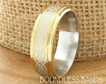 Celtic Knot Gold Tungsten Wedding Band Ring Celtic Knot Eternity Brushed Laser Engraved Comfort Fit Two Tone Mens Womens Wedding Band Gold