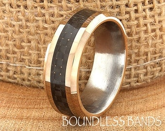 Rose Gold Black Carbon Fiber Tungsten Wedding RingTwo Tone Mens Wedding Band Custom Laser Engraved Ring Personalized Any Design Anniversary