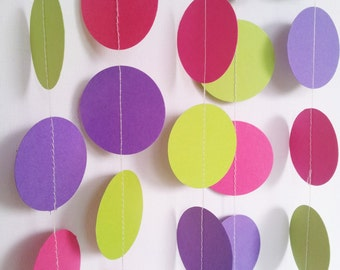 CANDYLAND Paper Circle Garland - Party, Shower, Nursery, Children's Room decoration.