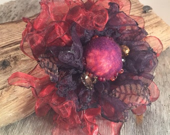 Flower brooch, fabric flower, fabric flower brooch, hair flower, flower pin, corsage, burgundy, purple, chiffon, felt