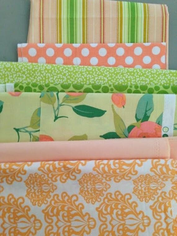 Color Coordinating Peach Green Scraps De Stash Perfect For