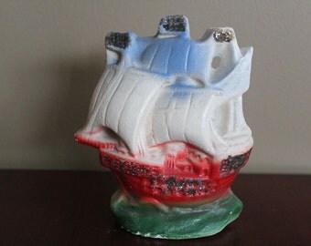 Vintage Chalkware Ship