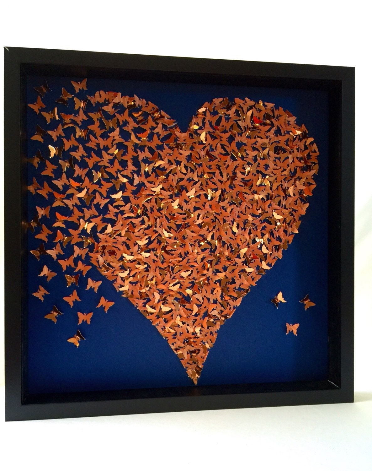3D butterflies Heart wall art decor Rose gold by ...