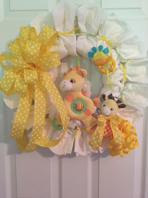 Diaper Wreath Giraffe Diaper Wreath Gender Neutral Hospital