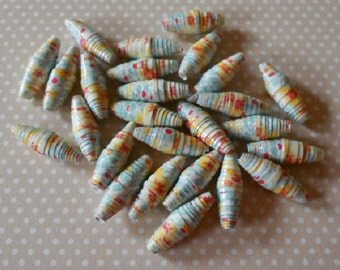 26 Hand made paper beads, dots & spots