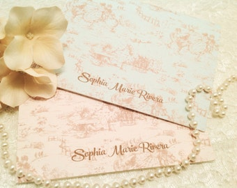 Personalized Toile Note Cards-Wedding Thank You Notes-Baby Thank You Notes-Set of 10
