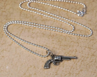 Silver Pistol Necklace (small)