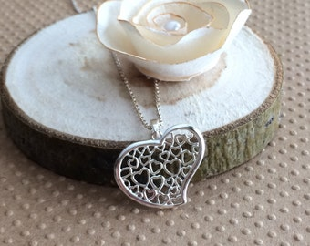 Sterling Silver Heart Necklace, Silver Heart Necklace, Small Heart Necklace, Sterling Silver Pendant Necklace, Filigree Heart Necklace