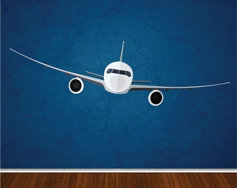 Airplane Decal, Kid's Airplane Wall Mural Decal, Plane Mural Stickers, Airline Wall Art Decal, Airline Wall Mural, Airplane Wall Design, a07
