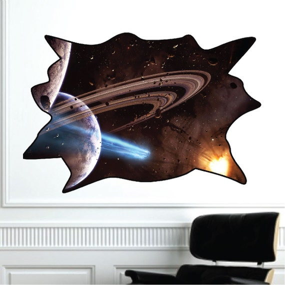 Outer Space Decal, Outer Space Wall Mural, Saturn Wall Mural Decal ...