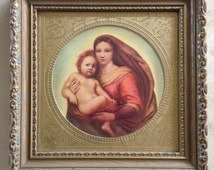 Vintage Sistine Madonna and Child by Raphael with Gold Foil in Wood Frame, C.A.Richards Boston MA, with Original Box, Religious Art