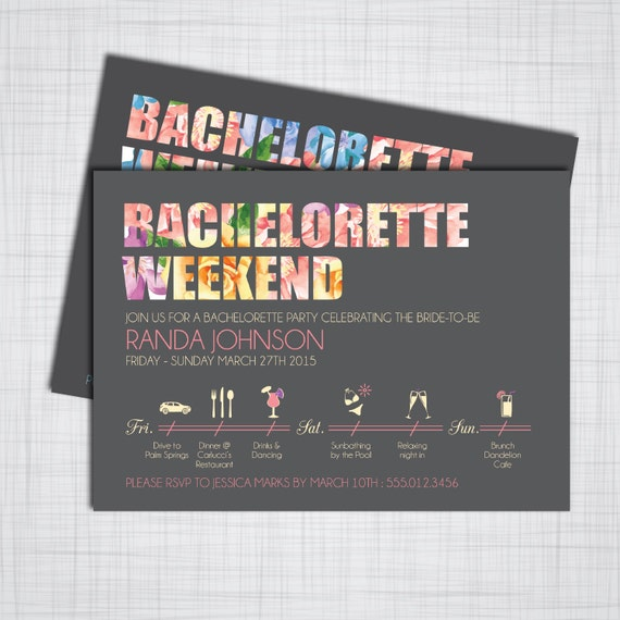 bachelorette party weekend diy printable invitations with