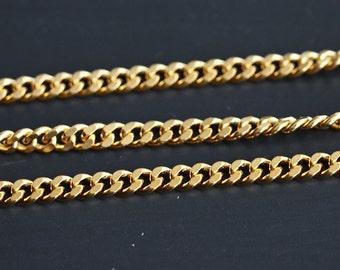B5-10-MG] Matt Gold plated / 3.5mm / Curb Chain / 1 meter