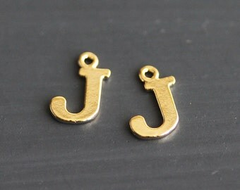 P1-100-G] Initial Upper Case J / 8mm / Gold plated / Pendant / 4 pieces
