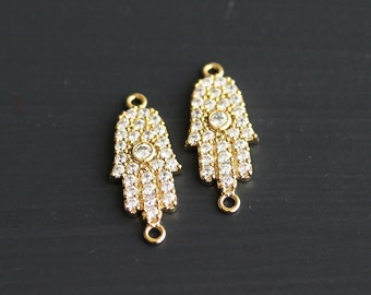 P0-245-G-2] Cz Hamsa Hand / 9 x 21mm / Gold plated / Pendant Connector / 1 piece(s)