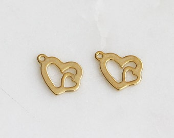40% off ENTIRE STORE // P0-587-G] Double Heart / 11 x 8mm / Gold plated / Pendant / 2 piece(s)