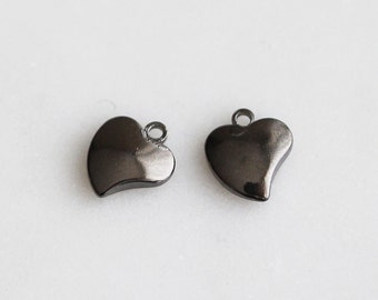 P1-703-M] Heart / 7 x 9mm / Gunmetal plated / Pendant / 4 piece(s)