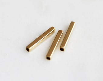T6-906-15-G] Square Tube / 2 x 15mm / Gold plated / Metal Beads / 10 piece(s)