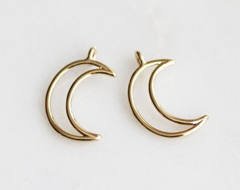 P1-914-G] Crescent Moon / 10 x 18mm / Gold plated / Pendant / 2 piece(s)