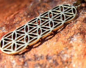 SALE 25% OFF Flower of Life Chain Brass Pendant Necklace