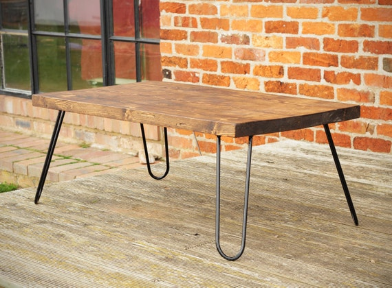 chunky reclaimed wood coffee table black hairpin legs. Black Bedroom Furniture Sets. Home Design Ideas
