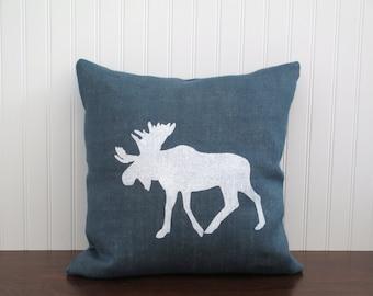 Cotton Canvas / Burlap Moose Pillow Cover. Moose Silhouette. Burlap Pillow Cover. Zipper enclosure. Rustic home decor. Rustic Chic.