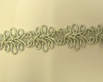 Metallic Silver Designer Braid/Gimp/Trim Craft/Haberdashery -hj1415