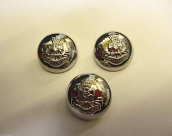 5 x 25mm Silver Coloured Military Shank Buttons