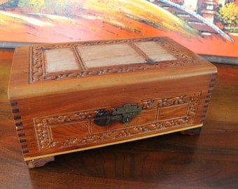 Vintage Cedar Keepsake Box with Pressed Designs and Room for Personal Photos