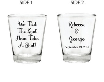 200 Personalized Glass Shot Glasses for Weddings, Birthday, Parties, Corporate Events