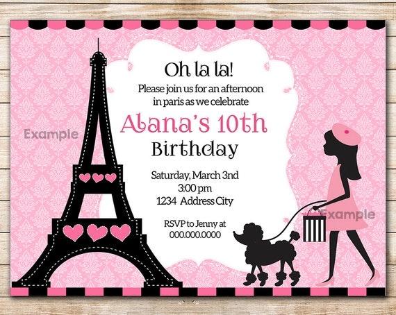 pink paris french poodle printable party invitation birthday card paris printable invitation. Black Bedroom Furniture Sets. Home Design Ideas