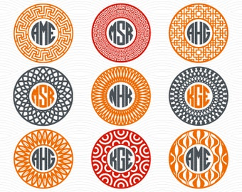 Circle Monogram Frames #1 (SVG, EPS, DXF Studio3) Decorative Cut Files for use with Silhouette Studio, Cricut Design Space, Cutting Machines