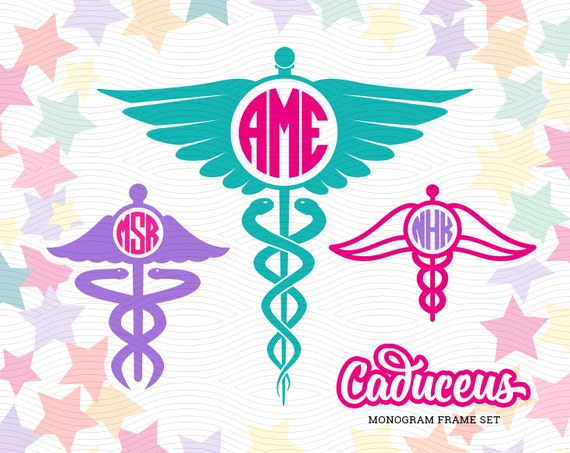 caduceus monogram frames  svg  eps  dxf studio3  medical cut file for use with silhouette studio