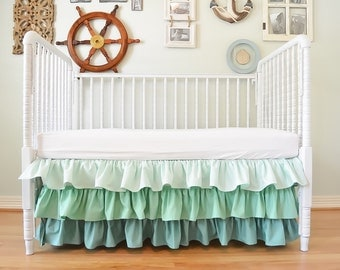 Ruffle Crib Skirt - Custom Color, Made to fit your colors, Ombre, Gradient, Solid Color