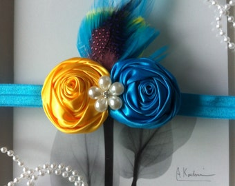 Yellow and turquoise feather headband