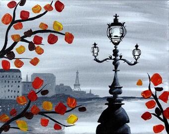 Paris, la Seine river, lamppost, Autumn, black and white - PRINT
