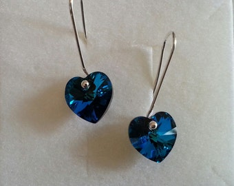 Earrings in the shape of heart, made with the original component and swarovski blue bermuda